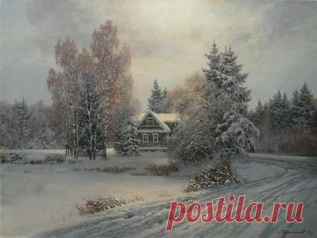 Прекрасные зимние пейзажи от художника Колпашникова Дмитрия