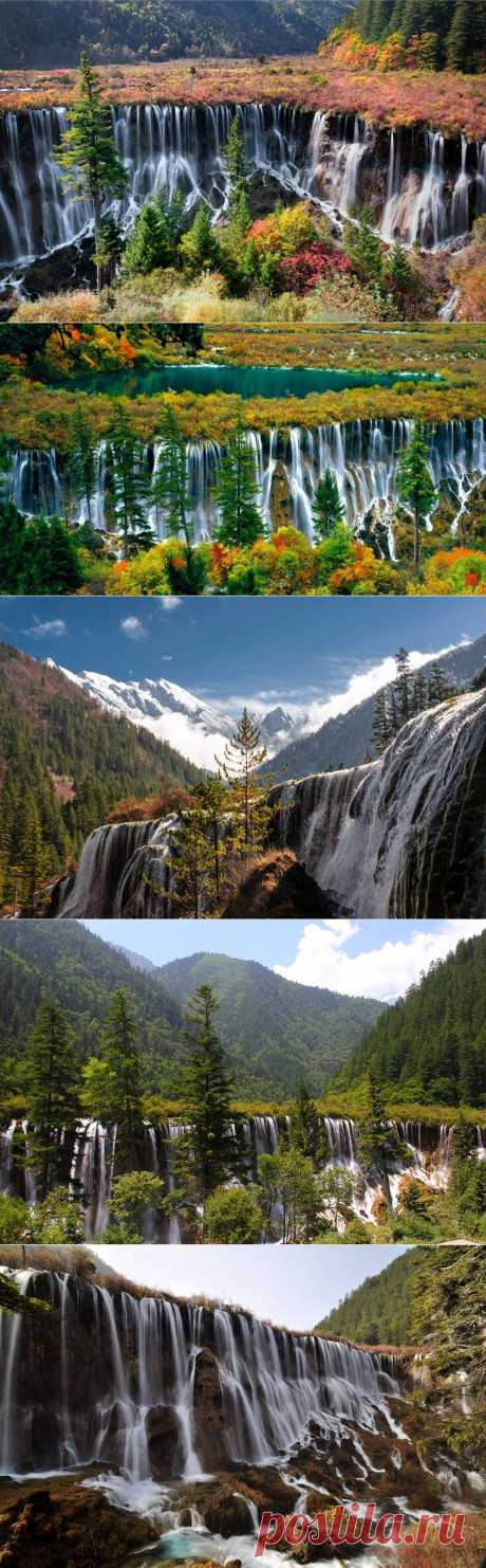 The delightful Nuorilang falls in National park of Jiuzhaigou | In the world of interesting