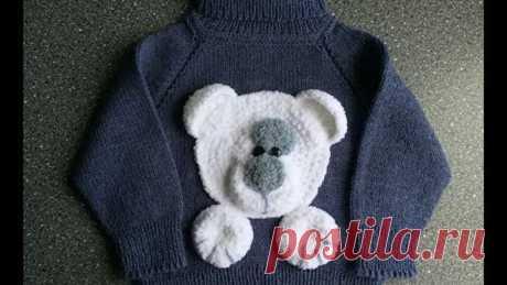 Детский свитер спицами с аппликацией