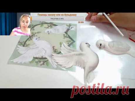 аппликация голубей из мастики для торта🔴  Танинторт