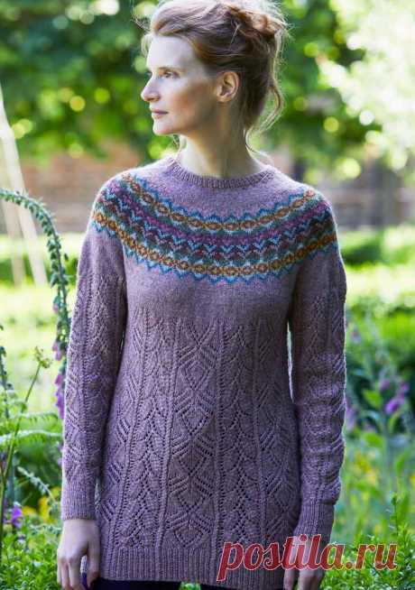Пуловер с жаккардовой кокеткой Foxglove - Вяжи.ру