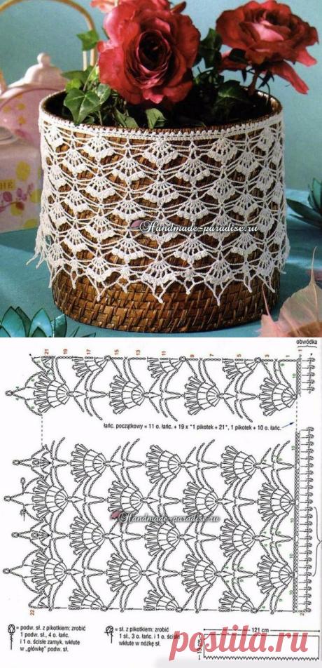 Lace a hook for decoration of a basket. Scheme