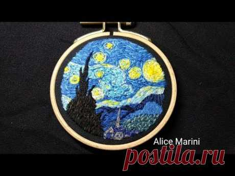 """Hand Embroidery: """"The Starry Night"""" - Van Gogh"""