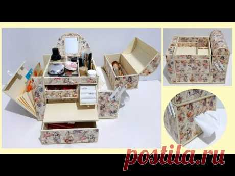 The Best DIY - 2 in 1 Jewelry Box and Makeup Organizer From Cardboard