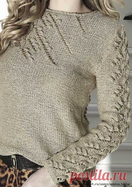 Пуловер с ажурными строчками спицами. Женские пуловеры спицами  