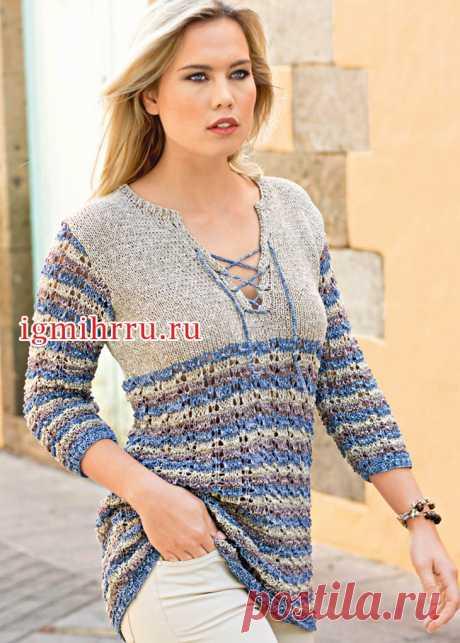 Повседневный пуловер со шнуровкой и полосками. Вязание спицами