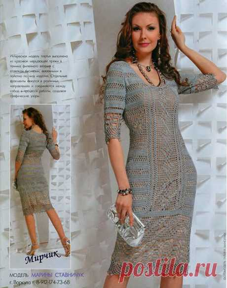 Вяжем крючком платье Шахерезада с филейкой и узором Паучи – схемы и описание