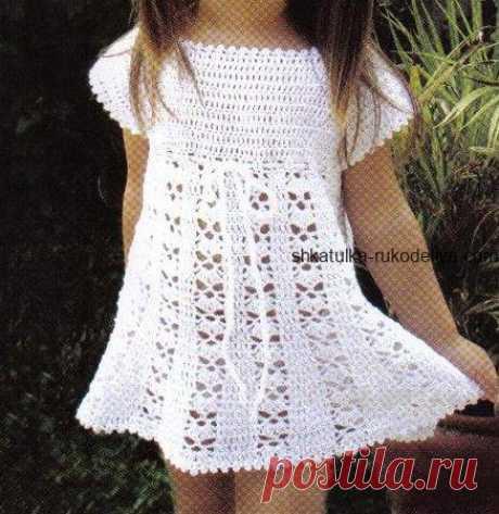 Детское платье крючком. Схемы вязания крючком летних платьев для девочек   Шкатулка рукоделия. Сайт для рукодельниц.