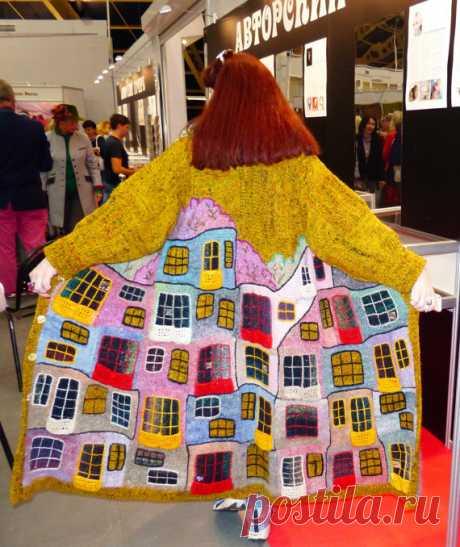 knitted coat handmade YELLOW HUNDERTWASSER for от annalesnikova
