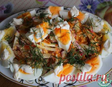 Яичный салат с жареной морковью – кулинарный рецепт