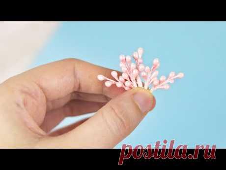 Декоративные веточки из тычинок своими руками. Декор для скрапбукинга и заколок. Легко и просто.