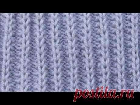 Узоры спицами - резинка с вытянутыми петлями