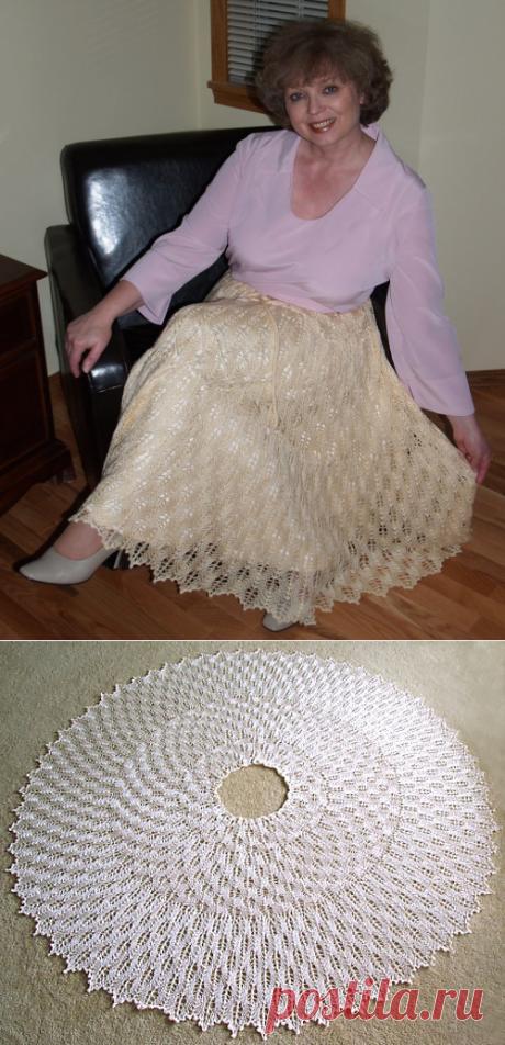 Как связать расклешенную юбку спицами.