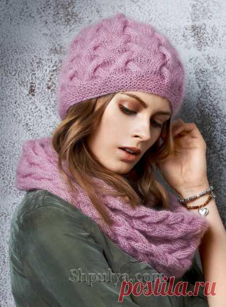 Вязаная шапка и снуд с плетеным узором спицами — Shpulya.com - схемы с описанием для вязания спицами и крючком