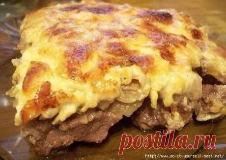 >Говядина по-купечески с сыром и грибами