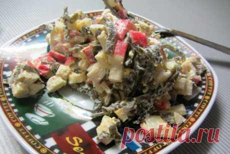 Салат из морской капусты с крабовыми палочками рецепт – европейская кухня: салаты. «Еда»