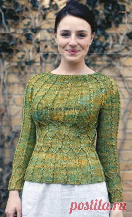 """Вязаный спицами женский пуловер """"Sotherton"""". Схемы и описание на русском"""