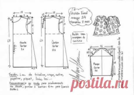 Выкройка платья для девочки от года до 14 лет