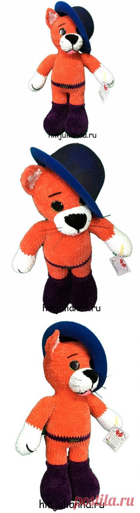 Плюшевая игрушка Кот в сапогах, симпатичная шапочкой, 45 смМастерская рукоделия Анны Ганоцкой