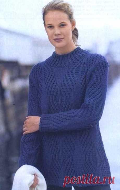Красивый рельефный узор для зимнего свитера | АЖУР - схемы узоров
