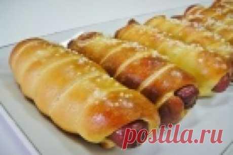 Печеные сосиски в тесте - пошаговый рецепт с фото на Повар.ру