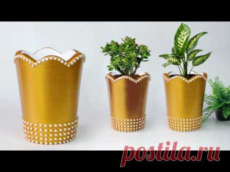 Cement Tree planter making - Paper flower vase making || सीमेंट फूलदान बनाना