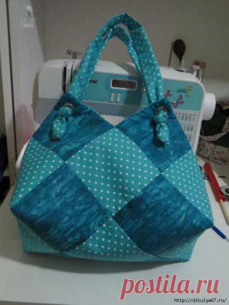 Оригинальная сумка из квадратов. Мастер-класс.