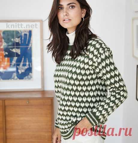 Пуловер с жаккардовым узором Пуловер с жаккардовым узором выполнен из шерстяной пряжи. Жаккардовый узор в виде милых сердечек не оставит никого равнодушным.