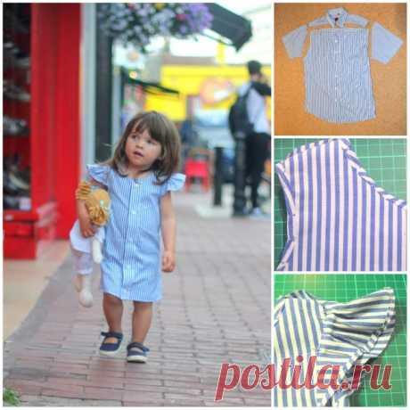 Очаровательные летние платьица для девочки из старых рубашек