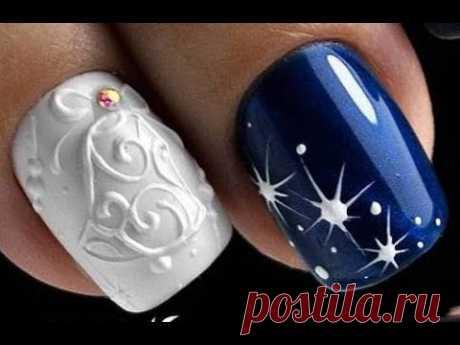 15 New Year Nail Art Designs 2019 | Best Christmas Nail Tutorials | Arte de uñas de navidad #46