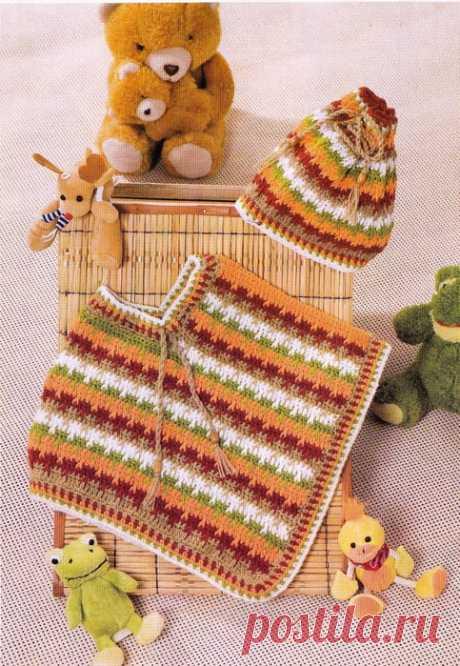 Детское вязаное пончо и шапка