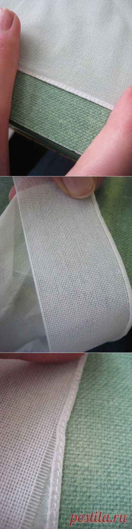 МК.  Оригинальный способ узкой подгибки на лёгкой ткани..