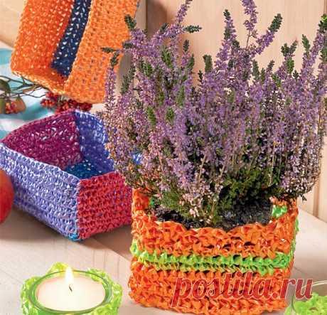 Квадратные корзиночки - схема вязания крючком. Вяжем Корзинки на Verena.ru
