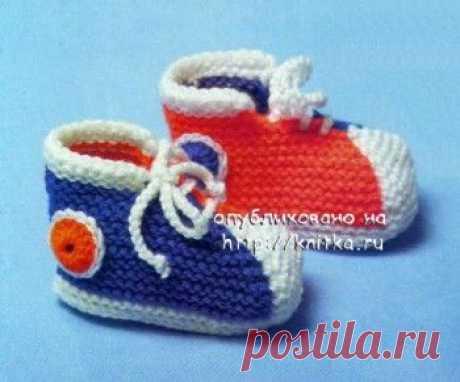 Детские тапочки спицами, 21 модель с описанием и схемами вязания, Вязание для детей