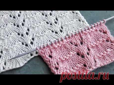 Нежный узор спицами для вязания ажурных джемперов, палантинов, летних топов