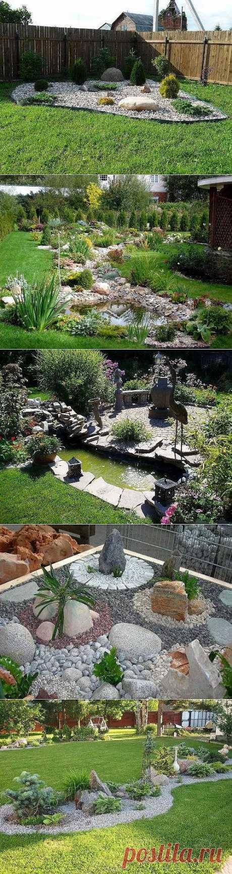 Камни в ландшафтном дизайне участка. Фото