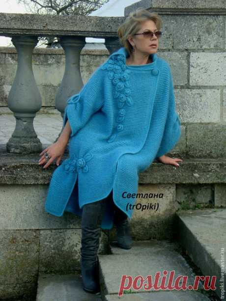 """Купить """"Водопад из роз""""авторское вязаное пальто - голубой, пальто женское, пальто вязаное, лазурный"""