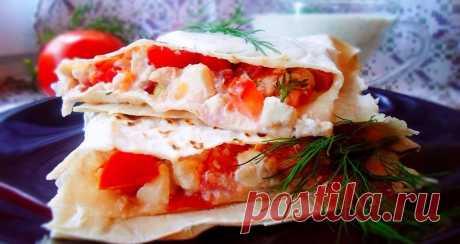 Лаваш с помидорами и сыром, просто и вкусно!