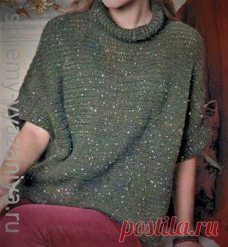 Свитер с короткими рукавами из пряжи с пайетками - схема вязания на портале skhemy-vyazaniya.ru