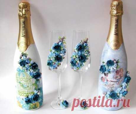 «Украшение шампанского в бирюзовых тонах» — карточка пользователя tanya.ionko в Яндекс.Коллекциях