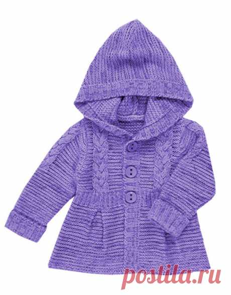 ПЕТЕЛЬКА К ПЕТЕЛЬКЕ. Вязаный жакет-пальто для девочек  Размер: З года Длина готового жакета 38см., ОГ=59 см. Материалы • пряжа: Teddy's Wool Golf? 100% акрил • спицы З.5, 4, 5. • 3 декоративных пуговицы • 3пары прозрачных кнопок Узоры • платочная гладь •…