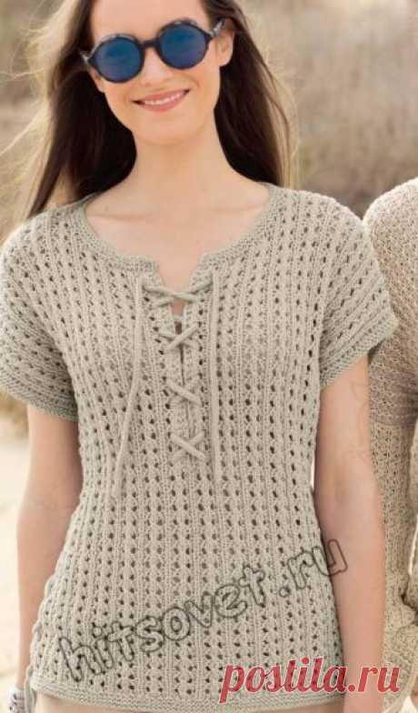 Топ со шнуровками - Хитсовет Летний женский пуловер со шнуровкой красивым ажурным узором спицами со схемой и бесплатным описанием вязания.