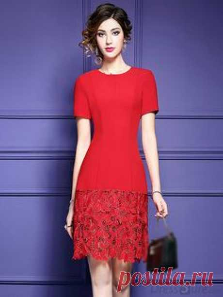 Buy Chic O-Neck Lace Patchwork Pure Color Skater Dress with High Quality and Lovely Service at DressSure.com
