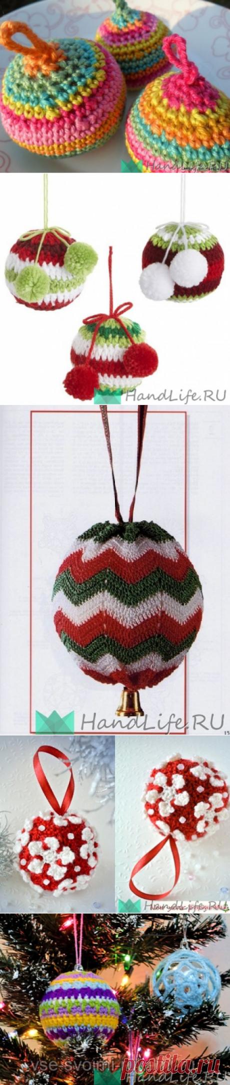 Вязаные шарики на елку. Плотное вязание крючком (видео) / Новый год!