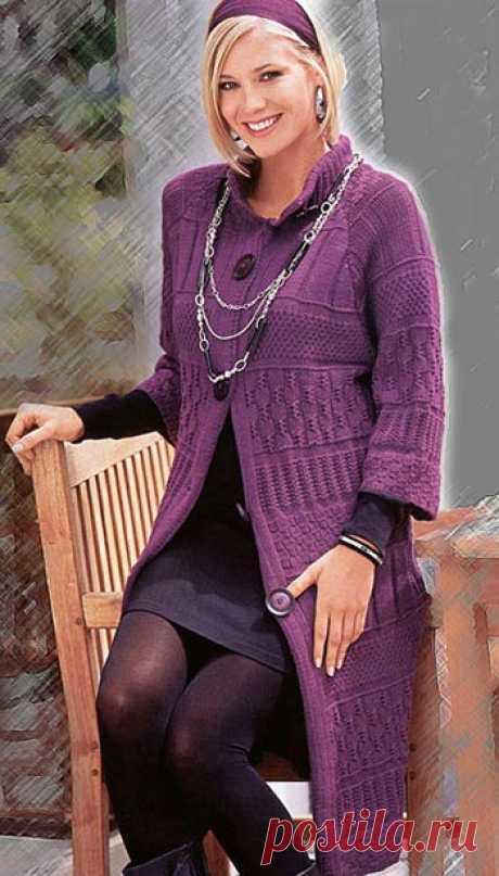 Элегантное пальто, связанное спицами (описание, выкройка, схемы вязания) | Рукоделие