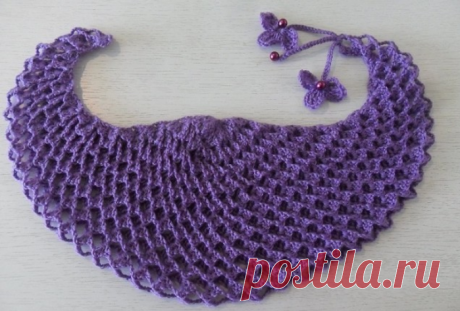 Knitting by a hook - Shawls a hook - Baktus or a mini-shawl with effect 3D