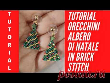 Tutorial Orecchini Albero di Natale in Brick stitch