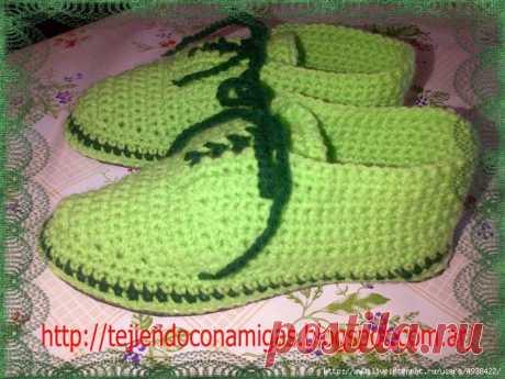 Тапочки-ботиночки крючком