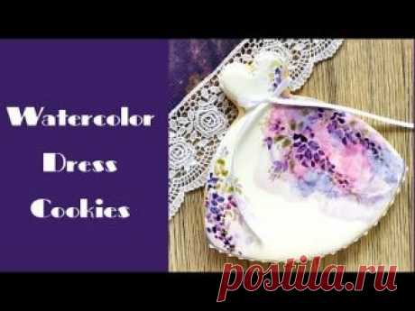 Watercolor Dress Cookies. Mother's Day cookies. Natural food colors.