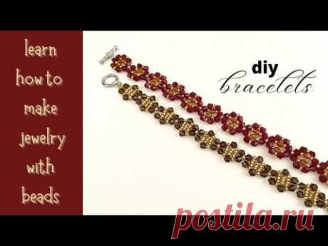 bracelets tutorial. diy jewelry with bicones beads and seed beads. Very easy beading patterns.
